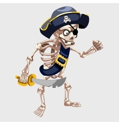Skeleton pirate with belt and sharp sword vector