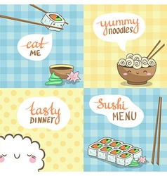 Sushi posters set in cute design vector