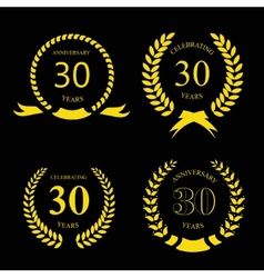 Thirty years anniversary laurel gold wreath set vector