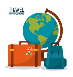 Travel around the world globe map backpack vector