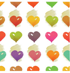 Watercolor hearts seamless pattern vector