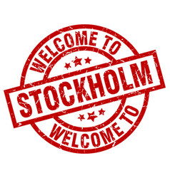 Welcome to stockholm red stamp vector