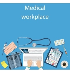 Workplace doctor at table vector image vector image