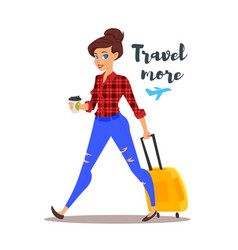 Young pretty woman with a travel case vector