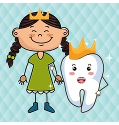 Cartoon girl and tooth wering a crown over a blue vector