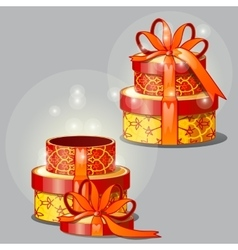 Gift yellow-red box open and closed vector image