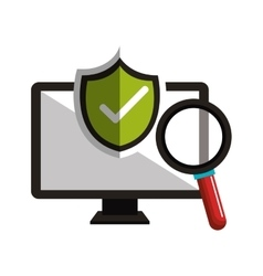 Monitor checkmark search design vector