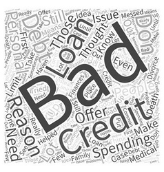 Bad credit personal loans word cloud concept vector