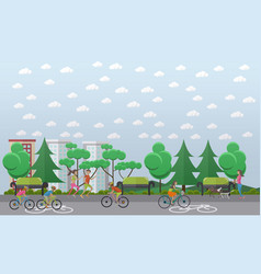 Bike path in the park concept vector