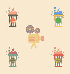 movie snack collection in flat vector image