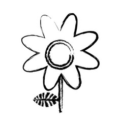 Monochrome blurred silhouette of daisy flower vector