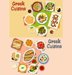 Greek cuisine lunch menu icon set for food design vector