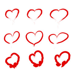 set of scribbled hearts grunge style icons vector image