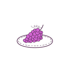 Grapes on plate mono line vector
