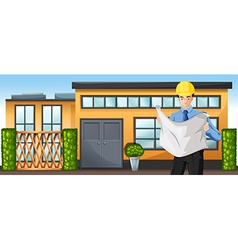 An engineer in front of a building vector