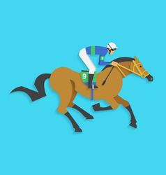 Jockey riding race horse number 9 vector