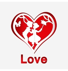 Red heart with couple in love vector