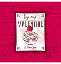 Red background with valentine heart muffin vector