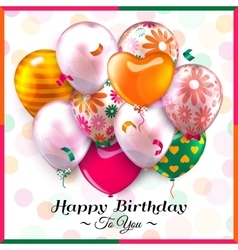 Birthday card with colorful balloons and confetti vector image