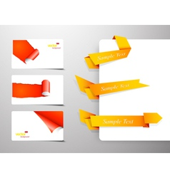 Set of gift cards with rolled corners and origami vector image