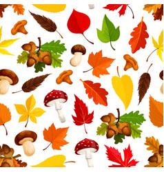 Autumn leaf mushroom seamless pattern background vector