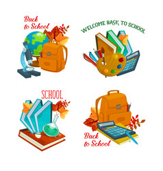 Back to school stationery icons vector