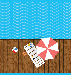 Beach stuff with deckchair vector