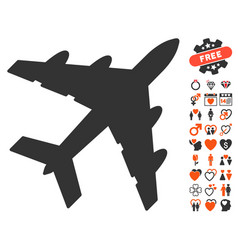 Bomber icon with dating bonus vector