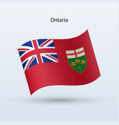 canadian province of ontario flag waving form vector image