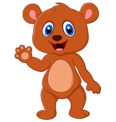 Cartoon teddy bear waving hand vector image vector image