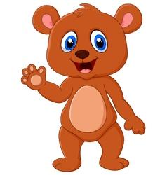 Cartoon teddy bear waving hand vector image vector image