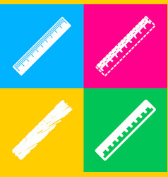 Centimeter ruler sign four styles of icon on four vector