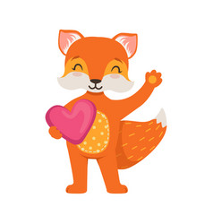 Cute orange fox character standing and holding vector