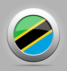 Flag of tanzania shiny metal gray round button vector
