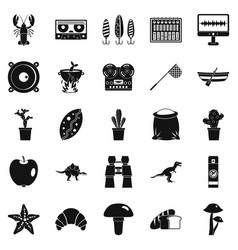 Great food icons set simple style vector
