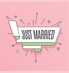 just married retro design element in pop art vector image