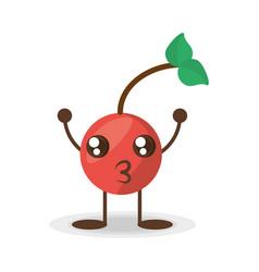 Kawaii cherry fruit food vector