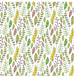 Leaves and branches seamless pattern hand drawn vector