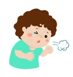 Little boy coughing cartoon vector