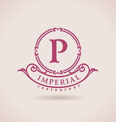 Luxury logo restaurant calligraphic pattern vector