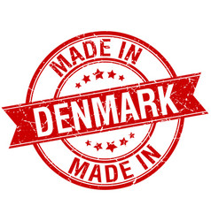 Made in denmark red round vintage stamp vector