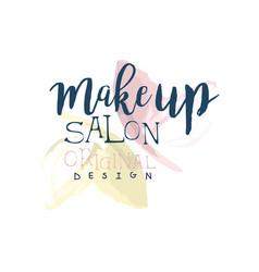 make up salon original logo design label for vector image