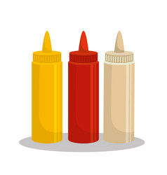 Sauces set bottles icon vector