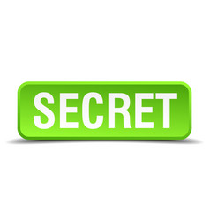 Secret green 3d realistic square isolated button vector