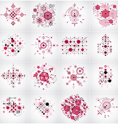 Set of bauhaus red abstract backgrounds made with vector
