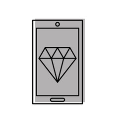 smartphone with luxury diamond isolated icon vector image
