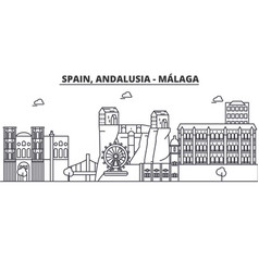 Spain malaga andalusia architecture line skyline vector