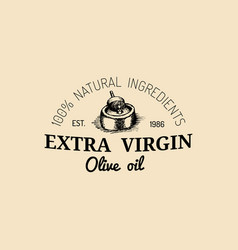Vintage olive logo retro emblem with rural vector