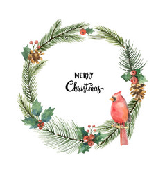 Watercolor christmas frame with bird vector