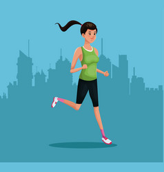 woman sports running training urban background vector image